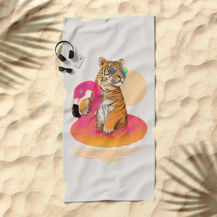 Chillin (Flamingo Tiger) Beach Towel