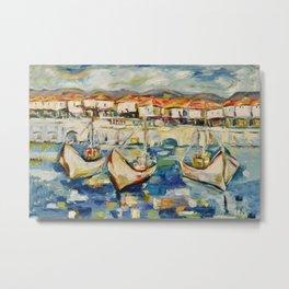 Three boats on the pier Metal Print