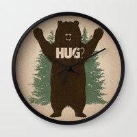 hug Wall Clocks featuring Bear Hug by powerpig