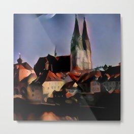 Regensburg Cathedral Night Fall Metal Print