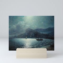 Shipping in a bay by Moonlight - Attributed to Ivan Aivazovsky Mini Art Print