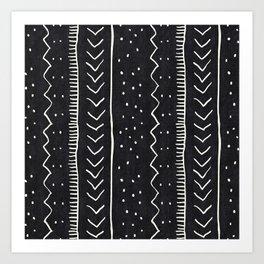 Moroccan Stripe in Black and White Art Print