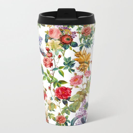 Botanic Flowers Metal Travel Mug