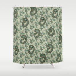 Excited Green Shower Curtain