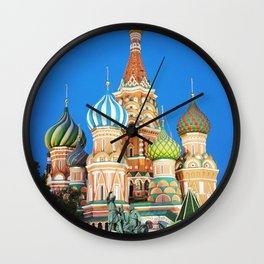 Colorful Moscow church Wall Clock