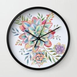 Watercolor Succulents #73 Wall Clock