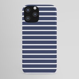 Navy Blue and White Horizontal Stripes Pattern iPhone Case