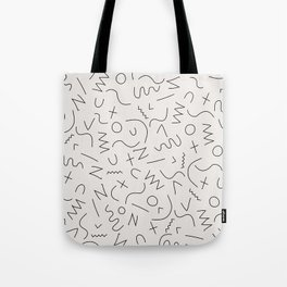 Scribbles Black on Warm Gray Tote Bag