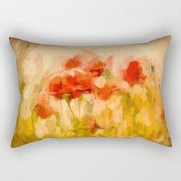 Fiery poppies in a golden cornfield Rectangular Pillow