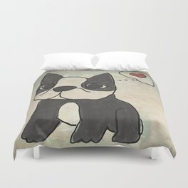 Hand Drawn and Quirky Boston Terrier San Jones Illustration Duvet Cover