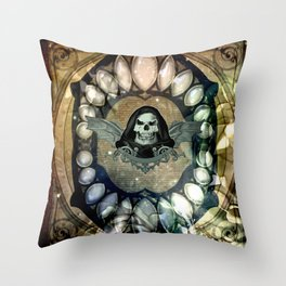 The dark skull with wings Throw Pillow