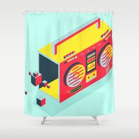 radio Shower Curtains featuring Radio Jam by Amy Wang