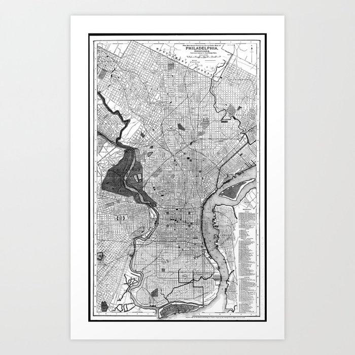 Vintage Map of Philadelphia PA (1895) BW Art Print