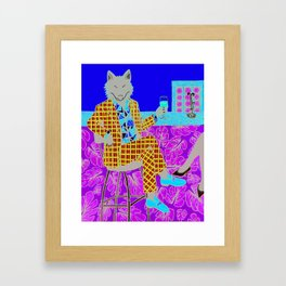 Wolf at the Wine bar Framed Art Print