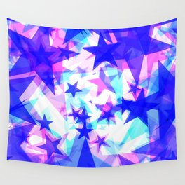 Large frosty blue stars on a light background in the projection. Wall Tapestry