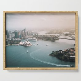 Sydney Opera House Harbour Bridge | Australia Aerial Travel Photography Serving Tray