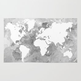 Design 49 Grayscale World Map Rug