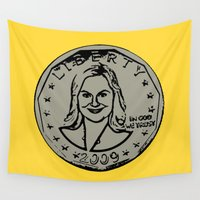 parks and recreation Wall Tapestries featuring Leslie Knope  |  Susan B. Anthony Coin  |  Parks and Recreation by Silvio Ledbetter