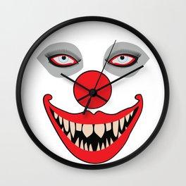 Halloween Evil Clown Face Wall Clock