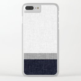 Navy Blue and Grey Simple Stripe with Crosshatch Burlap Print Pattern Clear iPhone Case