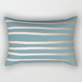 Abstract Drawn Stripes Gold Tropical Ocean Blue Rectangular Pillow