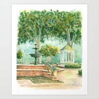 Fountain at the Square Watercolor Art Print
