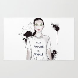 Beautiful woman with strong message t-shirt The Future is Female Rug