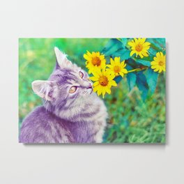 Animals Cat Feline Flowers Metal Print