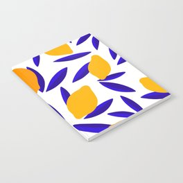 Blue and yellow Lemon Summery Pattern Notebook