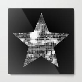 Shiny Silver Disco Ball Star Metal Print
