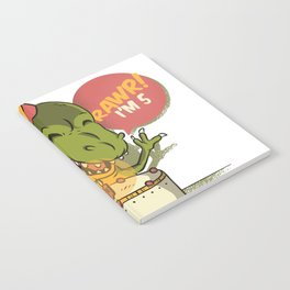 T Rex Birthday Party RAWR I'm 5 Dinosaur Notebook