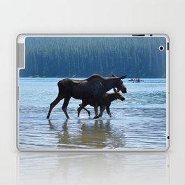Mother moose & calf at Maligne Lake in Jasper National Park Laptop & iPad Skin