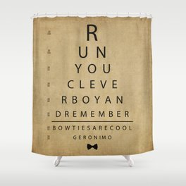 Run You Clever Boy - Doctor Who Inspired Vintage Eye Chart Shower Curtain