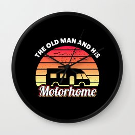 The old man and his Motorhome RV Gift Wall Clock