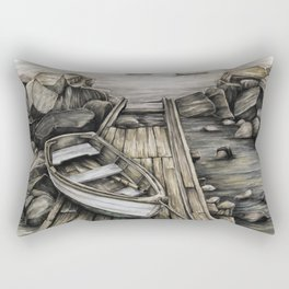 Old Boat on the Dock Rectangular Pillow
