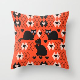 Cats and hearts with diamonds Throw Pillow