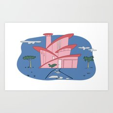 Pink Panther's Modern House Art Print