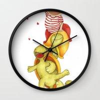turtles Wall Clocks featuring turtles by La Bella Leonera