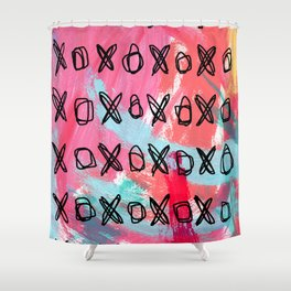 Everybody Is Somebody's Special #5 love typography xoxo pattern pink abstract painting Shower Curtain