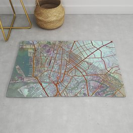 Manila Philippines Watercolor Street Map Urban Rug