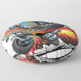 Classic hotrod 57 gasser drag racing muscle car cartoon Floor Pillow