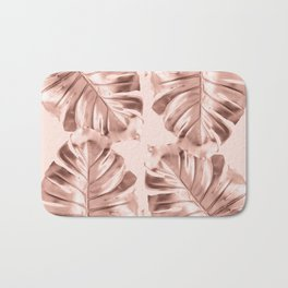 Rose Gold Monstera Leaves on Blush Pink Bath Mat