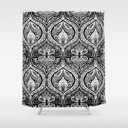 Simple Ogee Black & White Shower Curtain