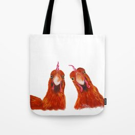 Happy Hens / Chickens ' HARRIET & HUMBUG ' by Shirley MacArthur Tote Bag