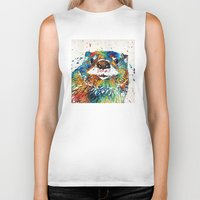otters Biker Tanks featuring Otter Art - Ottertude - By Sharon Cummings by Sharon Cummings