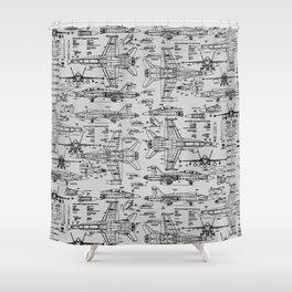 F-18 Blueprints // Light Grey Shower Curtain
