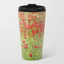 Meadow With Beautiful Bright Red Poppy Flowers  Travel Mug