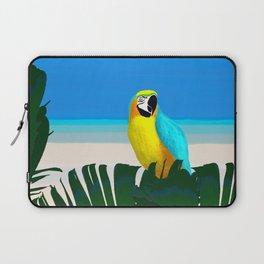 Parrot Tropical Banana Leaves Design Laptop Sleeve