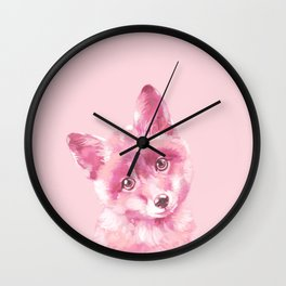 Baby Fox in Pink Wall Clock