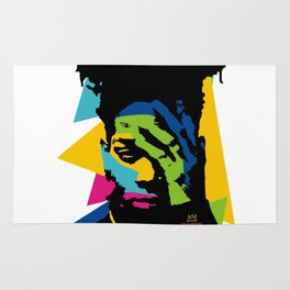 basquiat color jean michel Rug